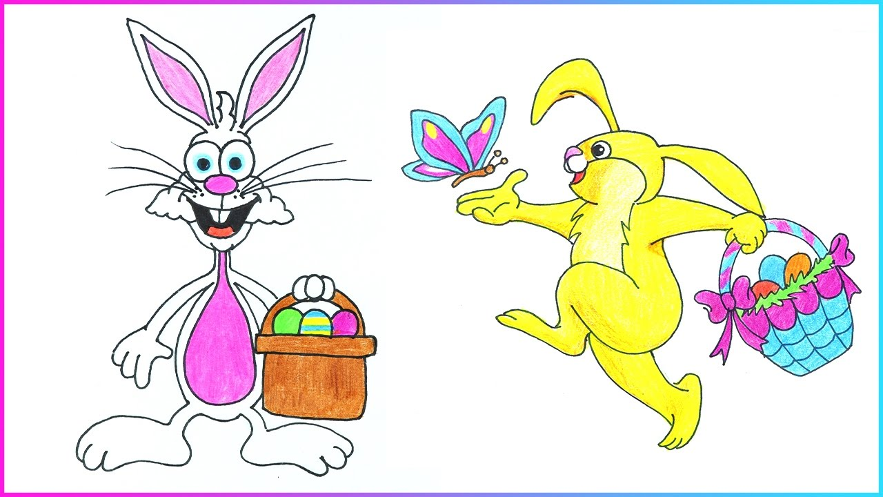 Easter Drawings  How To Draw Easter Bunny With Eggs Basket Step By Step
