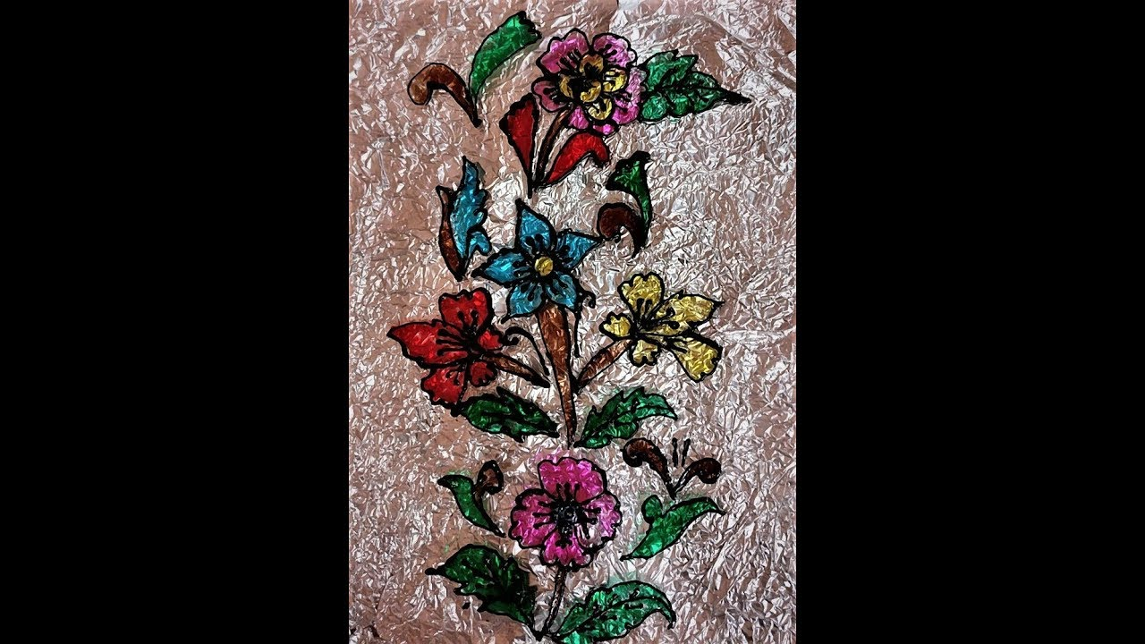 Very Beautiful And Easy Glass Painting On Ohp Sheet Youtube