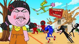 Squid Game Parody, Mega Siren Head, Sonic, Cartoon Dog | Roblox Piggy Animation | GV Studio