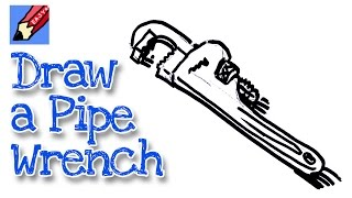 How to draw a pipe wrench real easy - for kids and beginners