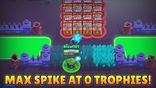 MAX SPIKE AT 0 TROPHIES TROLL! Trolling Noobs! :: Brawl Stars Troll