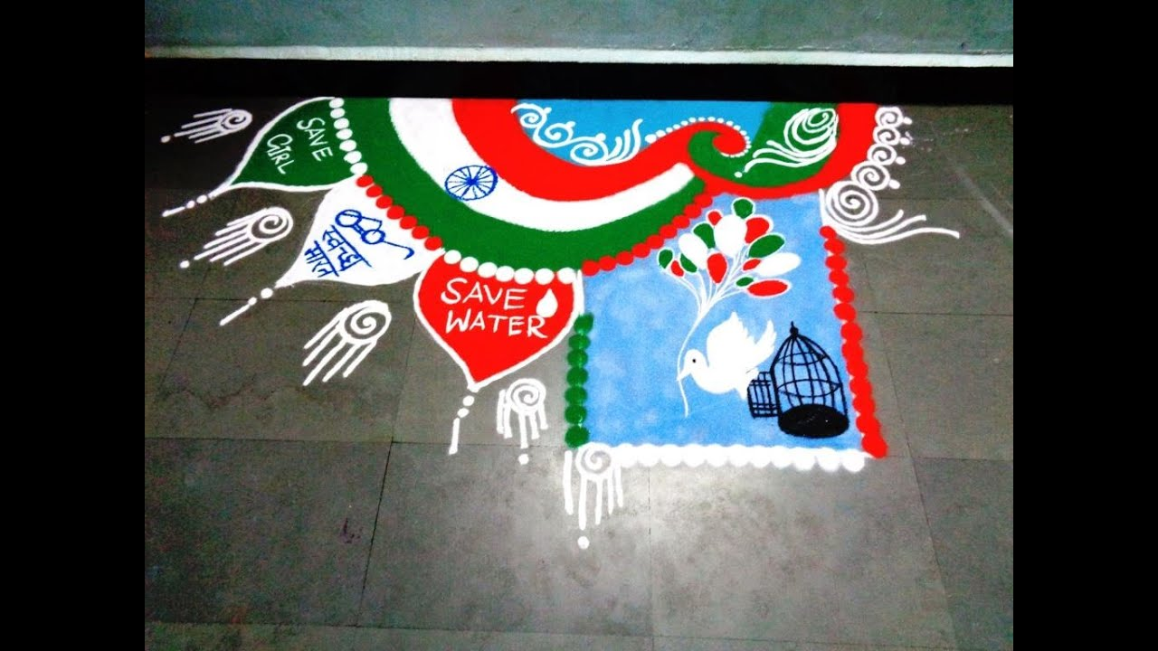 Top Ultimate Patriotic Independence Day Rangoli Designs photos for free download