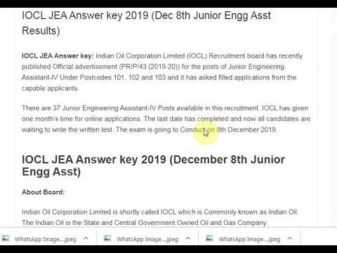 IOCL JEA Answer key 2019 (Dec 8th Junior Engg Asst Results)