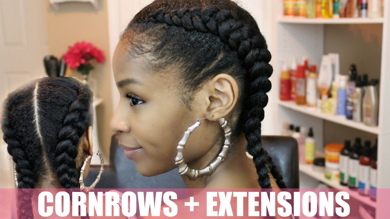 two cornrows natural hair