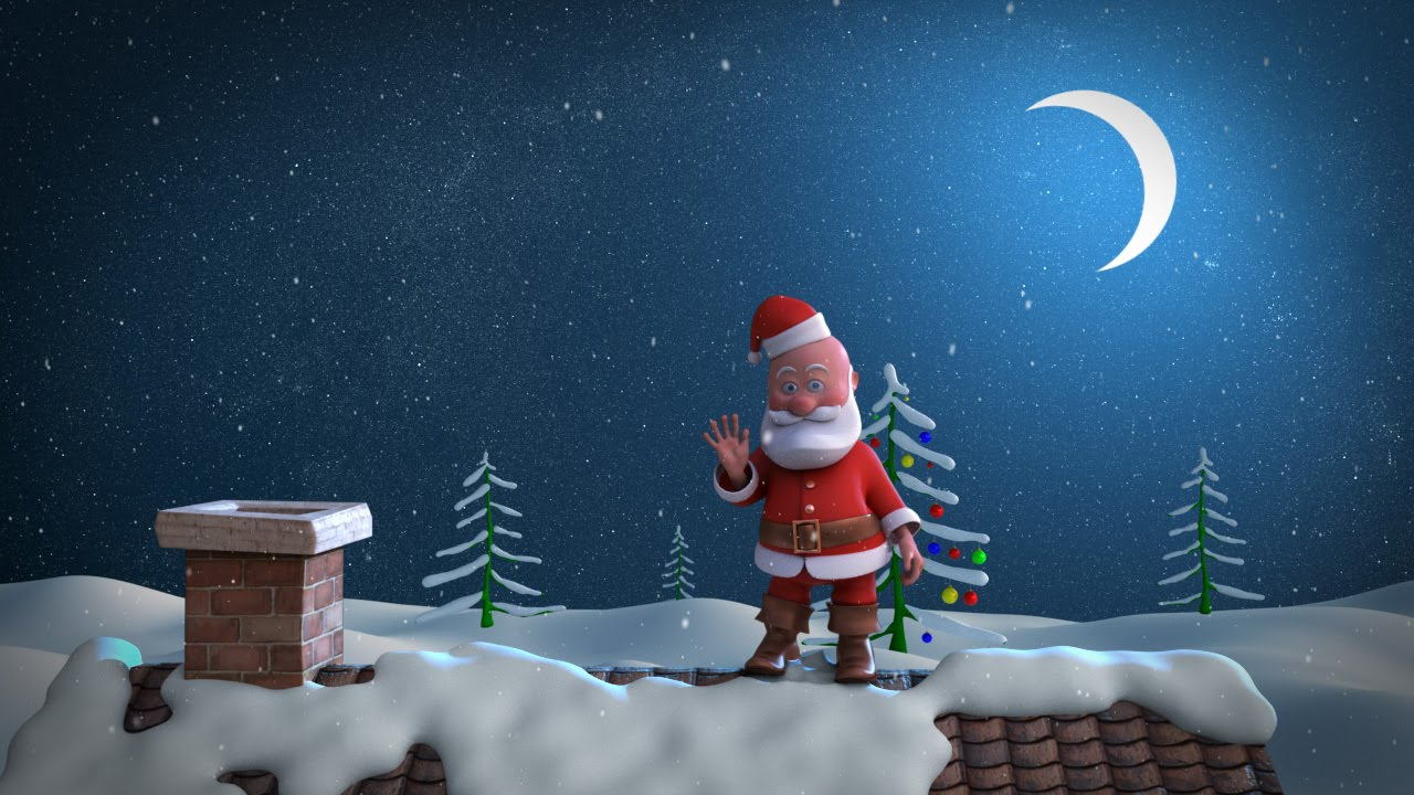 Animated christmas card template santa stuck in chimney youtube kristyandbryce Choice Image