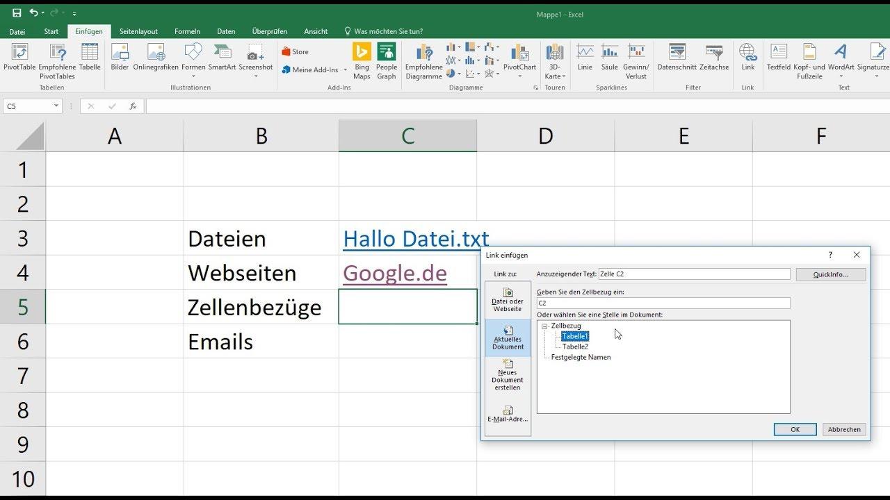 Excel: Hyperlink erstellen - Zellenbezüge, Email, Webseite, Datei ...