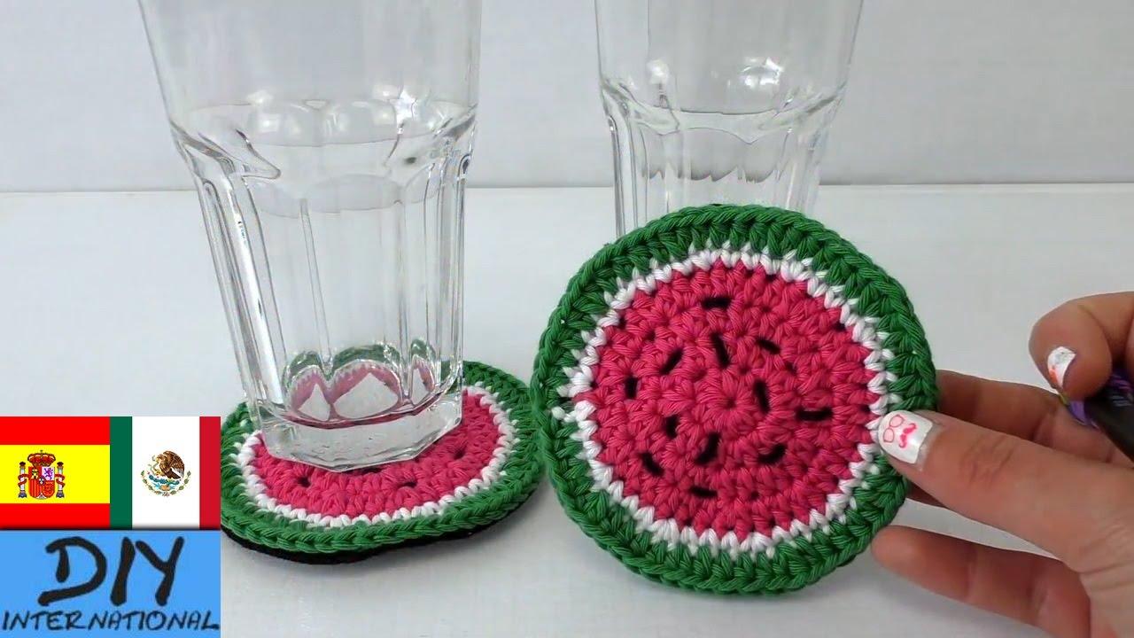 Tutorial posavasos fácil a crochet: Posavasos con diseño de sandía ...