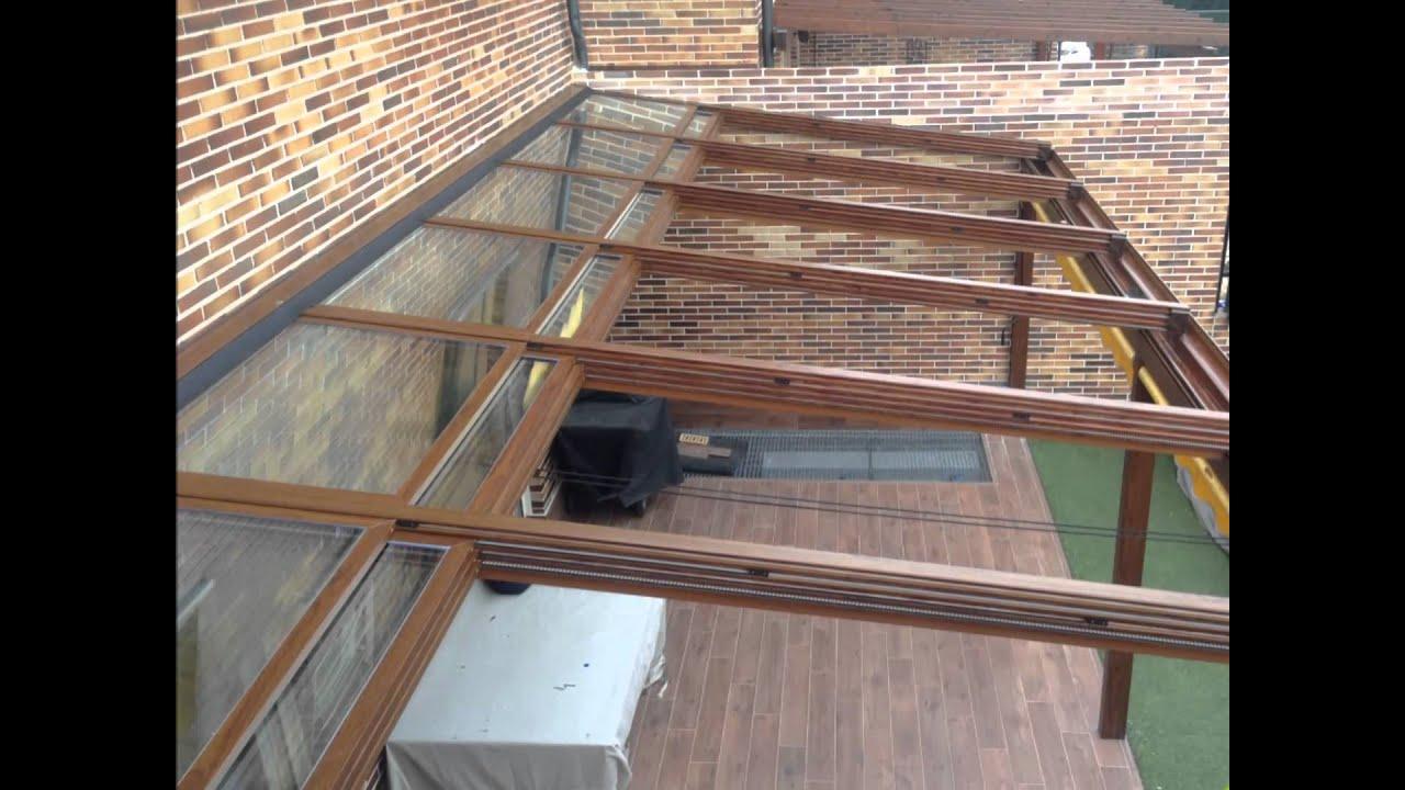 Techo movil motorizado vidrio control solar imitacion for Como hacer tejados de madera