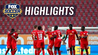 Timo werner of red bull leipzig dominates the match with an early goal in first half and a second to bring home win at augsburg during his final bund...