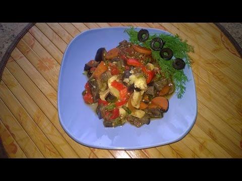 Овощное рагу в мультиварке с баклажанами и кабачками