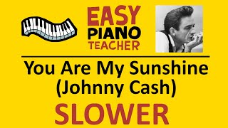 🎹 EASY piano: You Are My Sunshine SLOW keyboard tutorial (Johnny Cash) by #EPT with note names