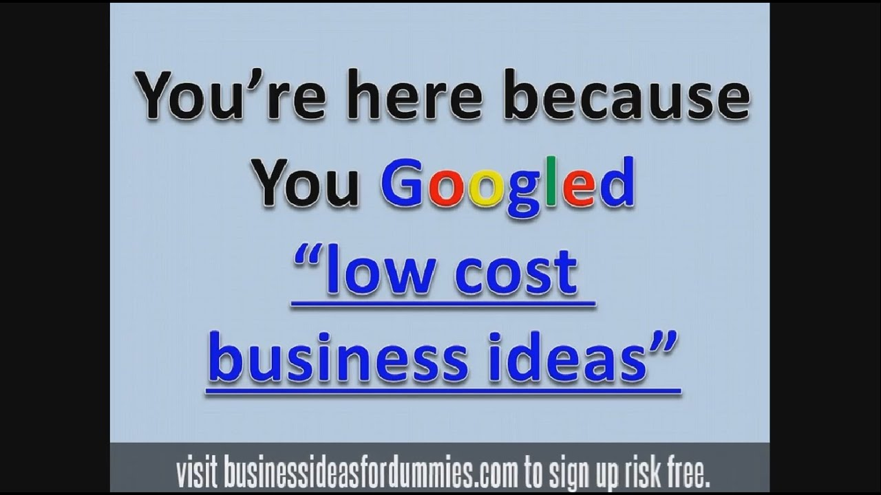 Low Cost Business Ideas Small Investment Opportunities  Youtube