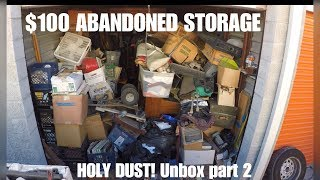 $100 abandoned storage unboxing part 2 check out what we found unbox 73