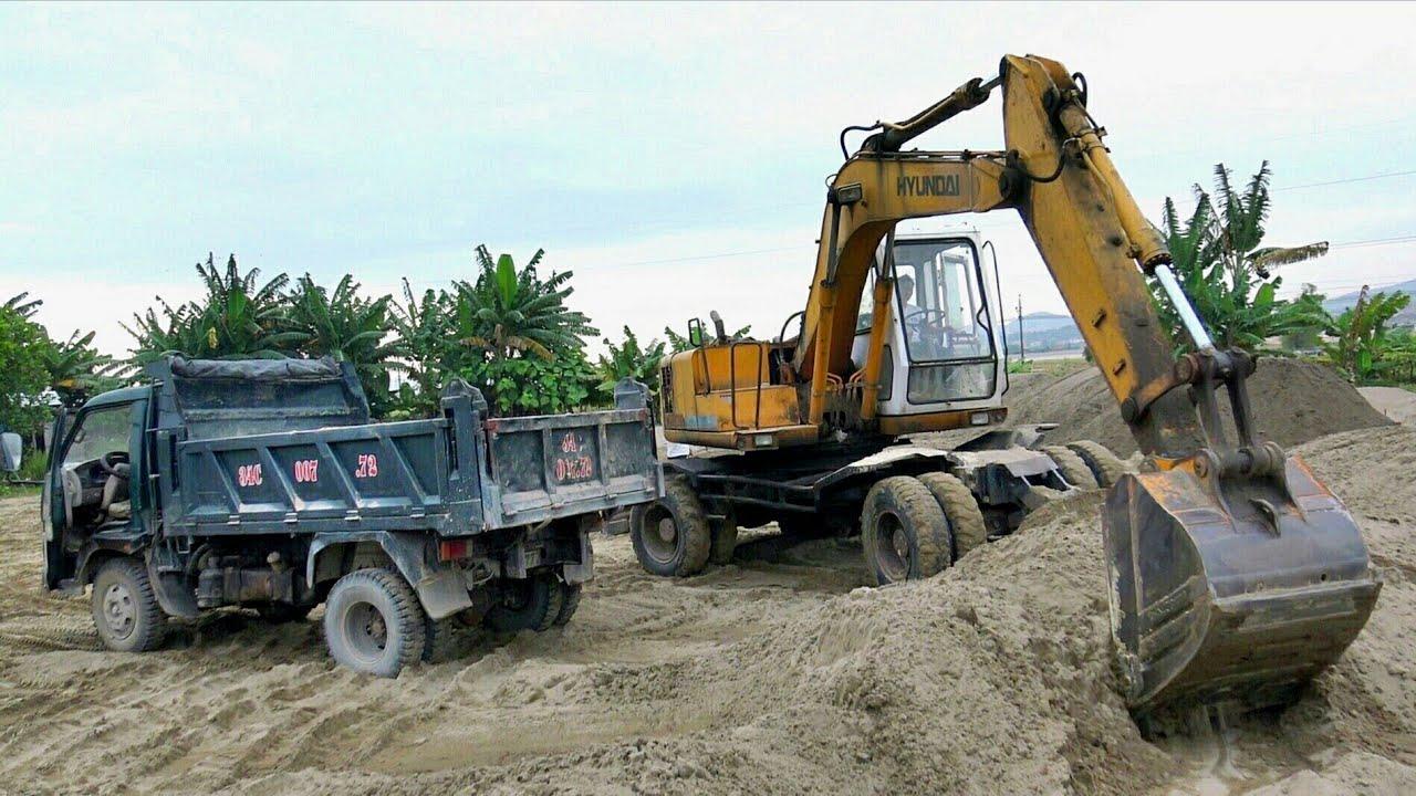 Xe Ô Tô Tải Ben Làm Việc, Máy Xúc Múc Cát | Excavator Truck | TienTube TV