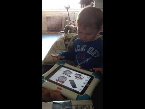 Andy using his iPad with a Fisher Price case