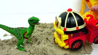 Robocar POLI Gear-up!! Defeat the Dinosaurs That Hurt Your Friends. Toy for Kids [JJtoy TV]