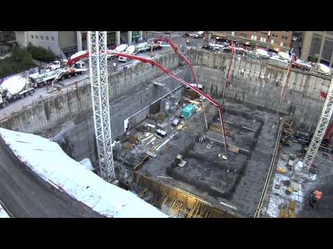 Brookfield Place Calgary Canada, Concrete Raft Slab Pour