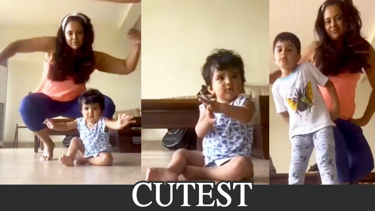 Actress Sameera Reddy Dancing With Her Kids | Cutest Video | Manastars