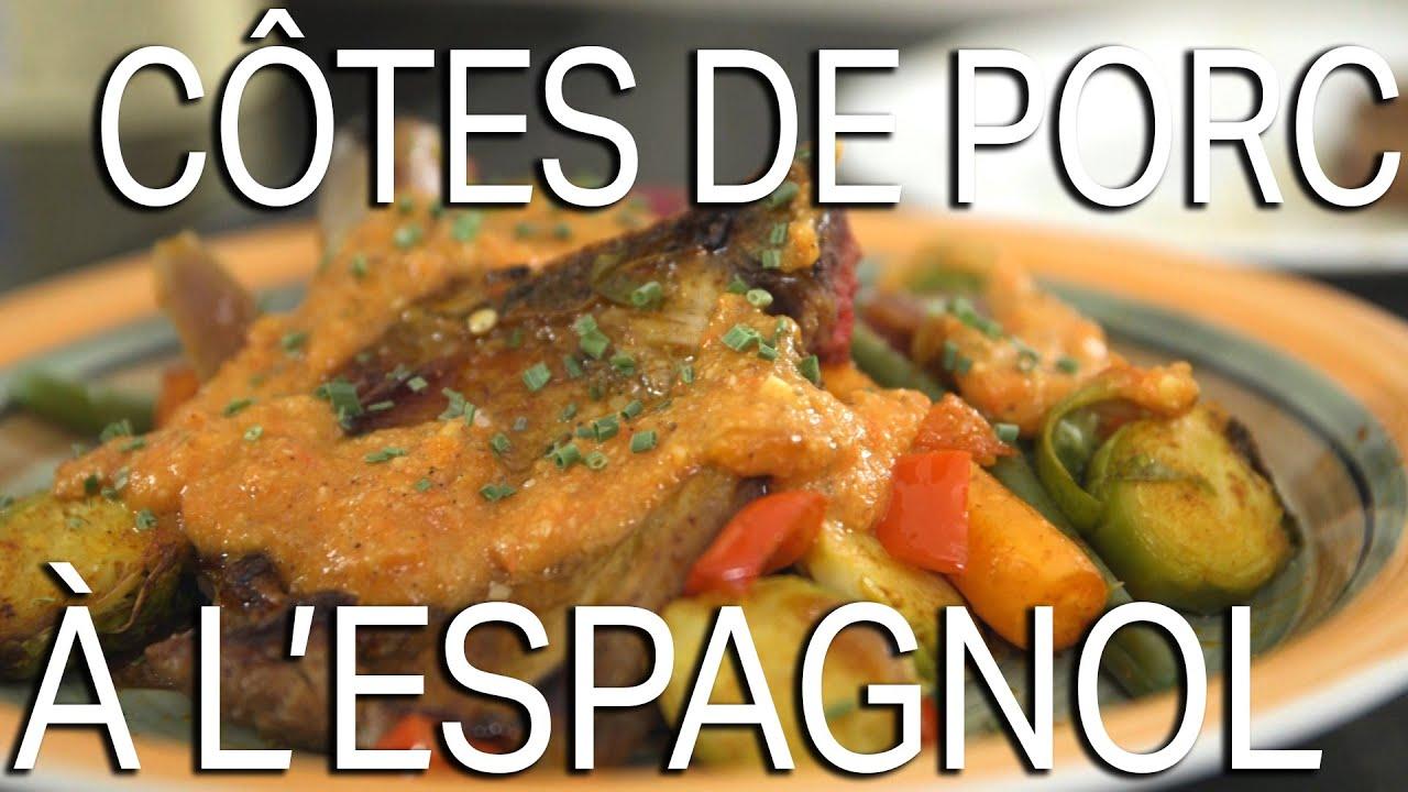 Recette c tes de porc l 39 espagnol la cuisine de - Cuisiner des cotes de porc ...