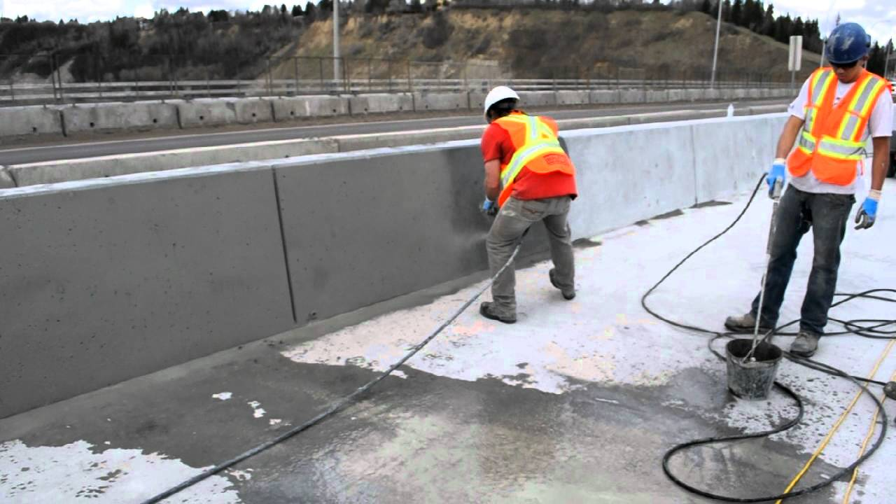 Sack and rub finish bridge concrete barriers avi youtube How to finish a concrete wall