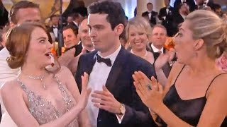 Emma Stone's Awkward Hug Fail With Damien Chazelle At Golden Globes