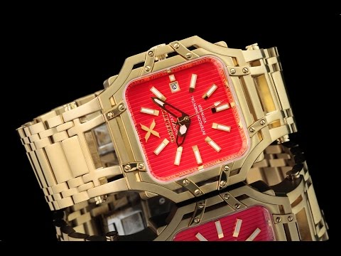 Xoskeleton 48mm Intercontinental Voyager Automatic Red Dial 18kt Gold Plated Bracelet Watch