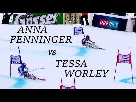 Tessa Worley vs Anna Fenninger SLOW MOTION SOELDEN FIS Alpine Ski World Cup