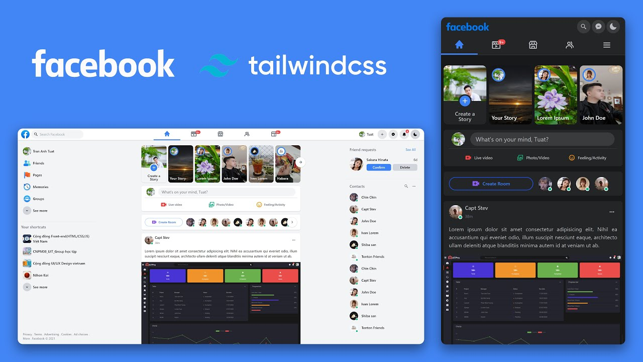 Make Facebook Responsive UI and Dark Mode using TailwindCSS