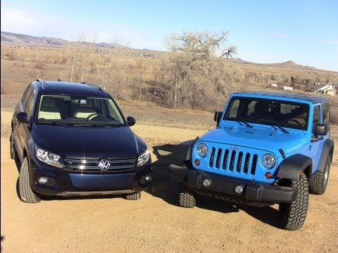 2012 Volkswagen Tiguan vs Jeep Wrangler 0-60 Off-Road Mashup Review