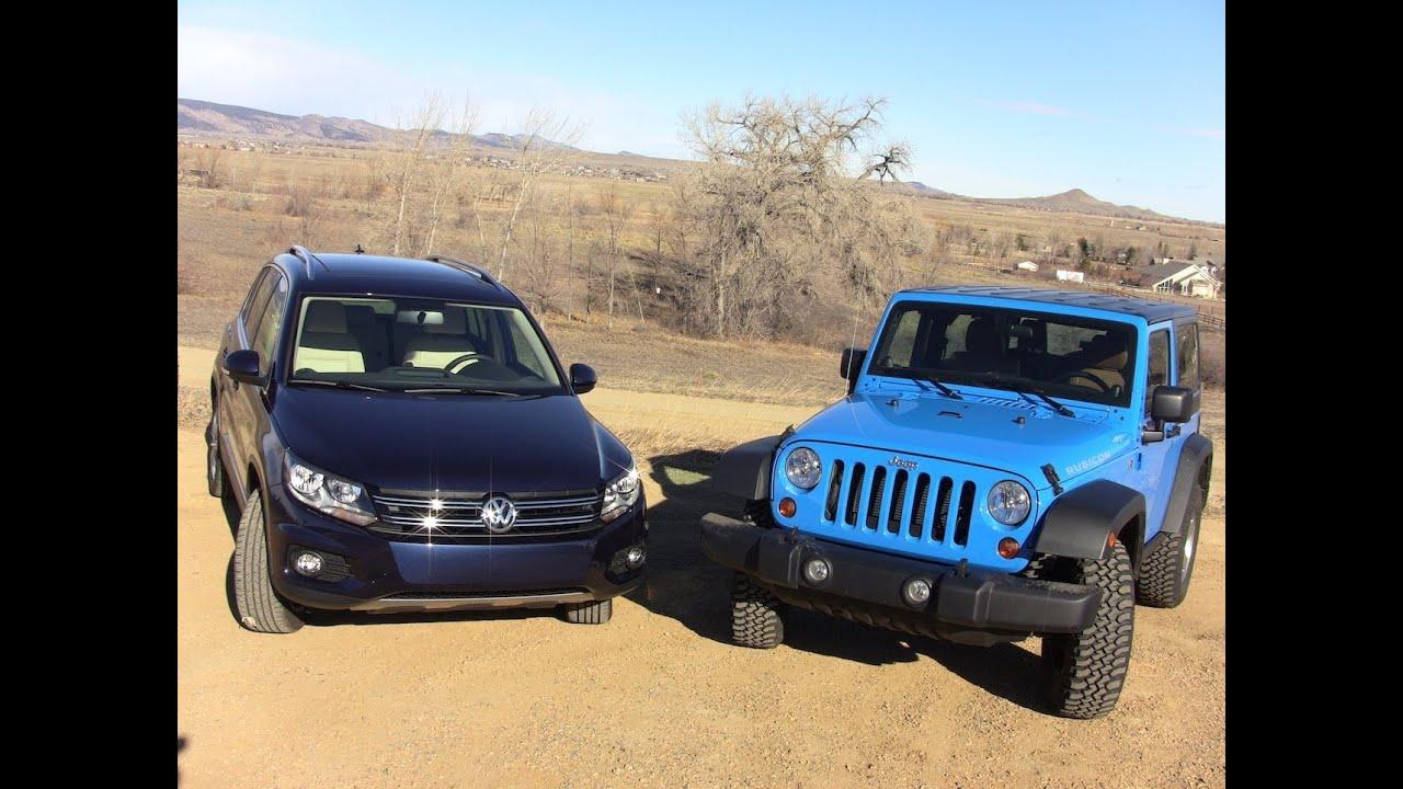 Jeep Patriot Tires >> 2012 Volkswagen Tiguan vs Jeep Wrangler 0-60 Off-Road ...