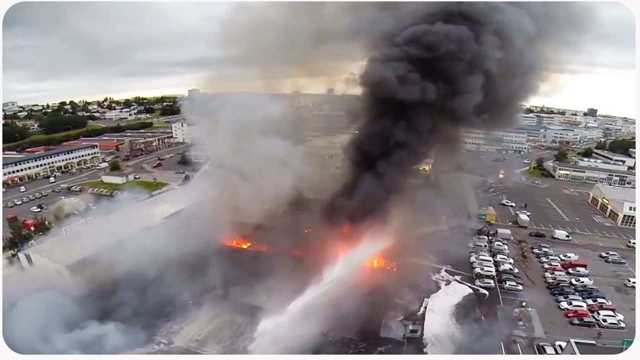 Aerial Drone Footage Of Iceland Warehouse Fire