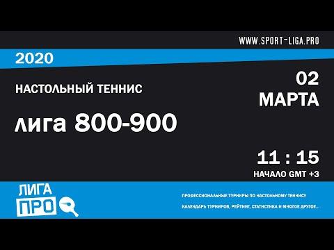 Настольный теннис. Лига Про. Турнир 2 марта 2020г. Муж. Рейтинг 800-900