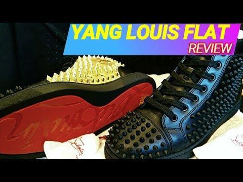 c3f844ac6e73 Christian Louboutin Black Gold Yang Louis Flats Sneaker Review - YouTube