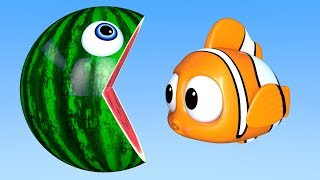 Learn Colors with PACMAN as eat Fish & WaterMelon on the Sea and slides down a magic slide