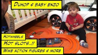 Duhop HOTWHEELS SLOT CAR RACE TRACK WWE ACTION FIGURES and More Vlog