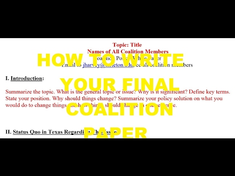 Coalition Paper Overview for TSU Online Government Courses