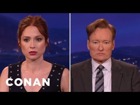 Ellie Kemper & Conan Compare Resting Bitch Faces   CONAN on TBS