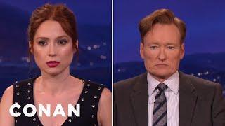 Ellie Kemper & Conan Compare Resting Bitch Faces  - CONAN on TBS