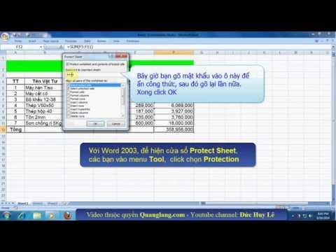 Cách ẩn công thức trong Excel 2007, 2010, 2003, 2013
