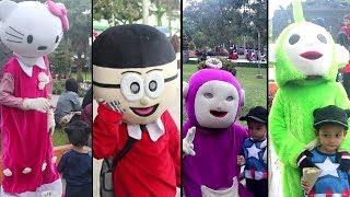 Banyak Badut Lucu di Alun-Alun Tasikmalaya ! Ada Badut Nobita, Hello Kitty, dan Teletubbies