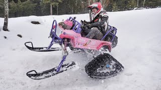 50HP Barbie Jeep Gets Snow Tracks