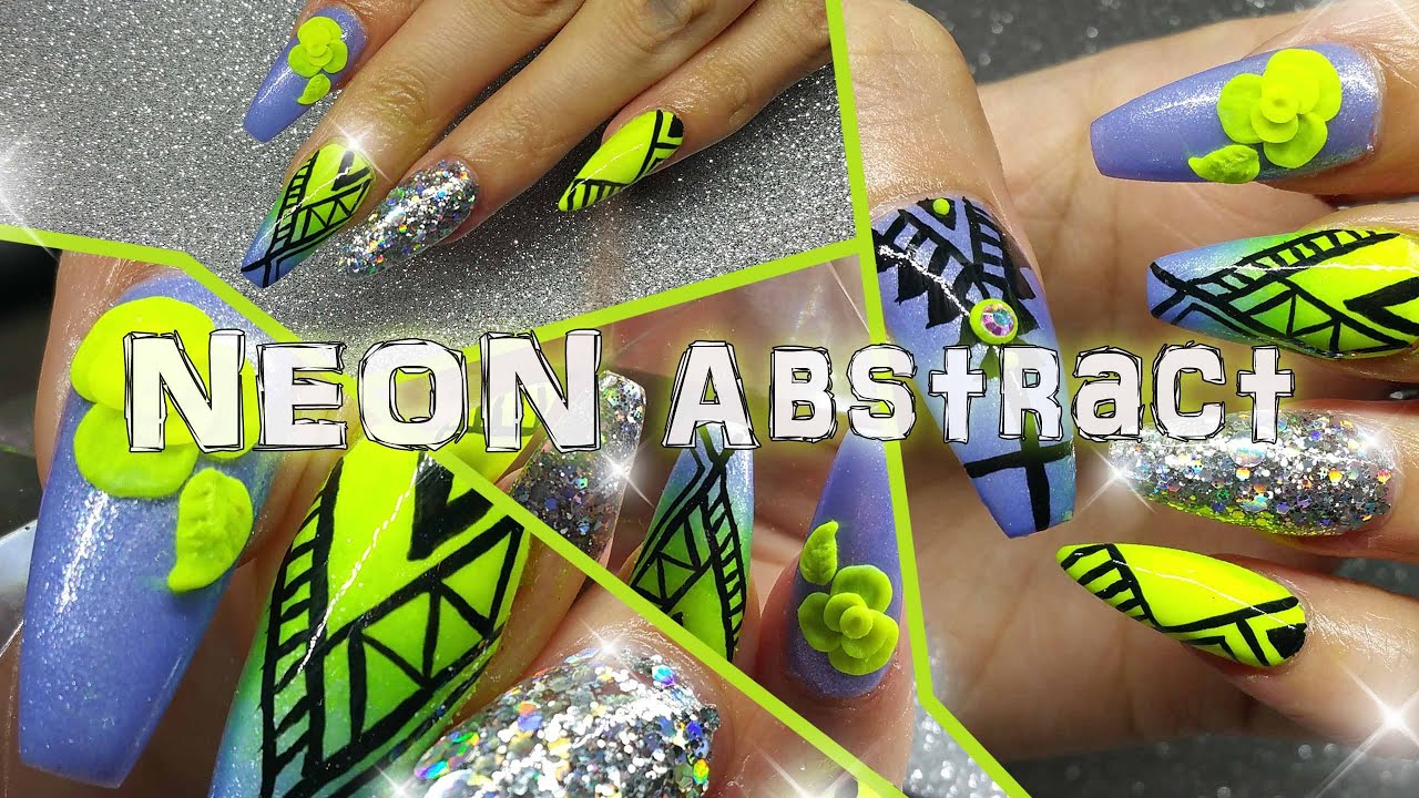 Ombre Neon Yellow And Periwinkle Blue Abstract Nail Design Youtube