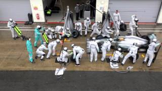 F1 2013 - Mercedes Amg - Pit Stop Training With Hamilton & Rosberg