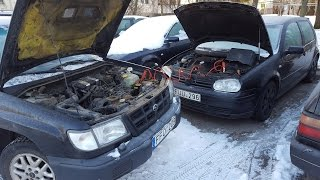 Cold Start - 20 °C  / -4 °F | 4K | VW Golf Mk4 1.9 TDI 110 Kw VS Subau Forester 2.0  92 Kw