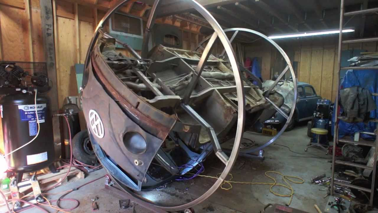 Vw Bus Single Cab Rotisserie Welding A Bus Youtube