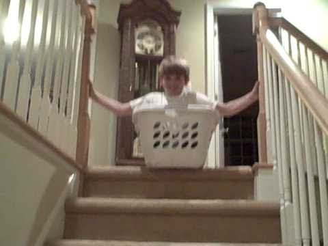 Going Down Stairs In Laundry Basket   YouTube