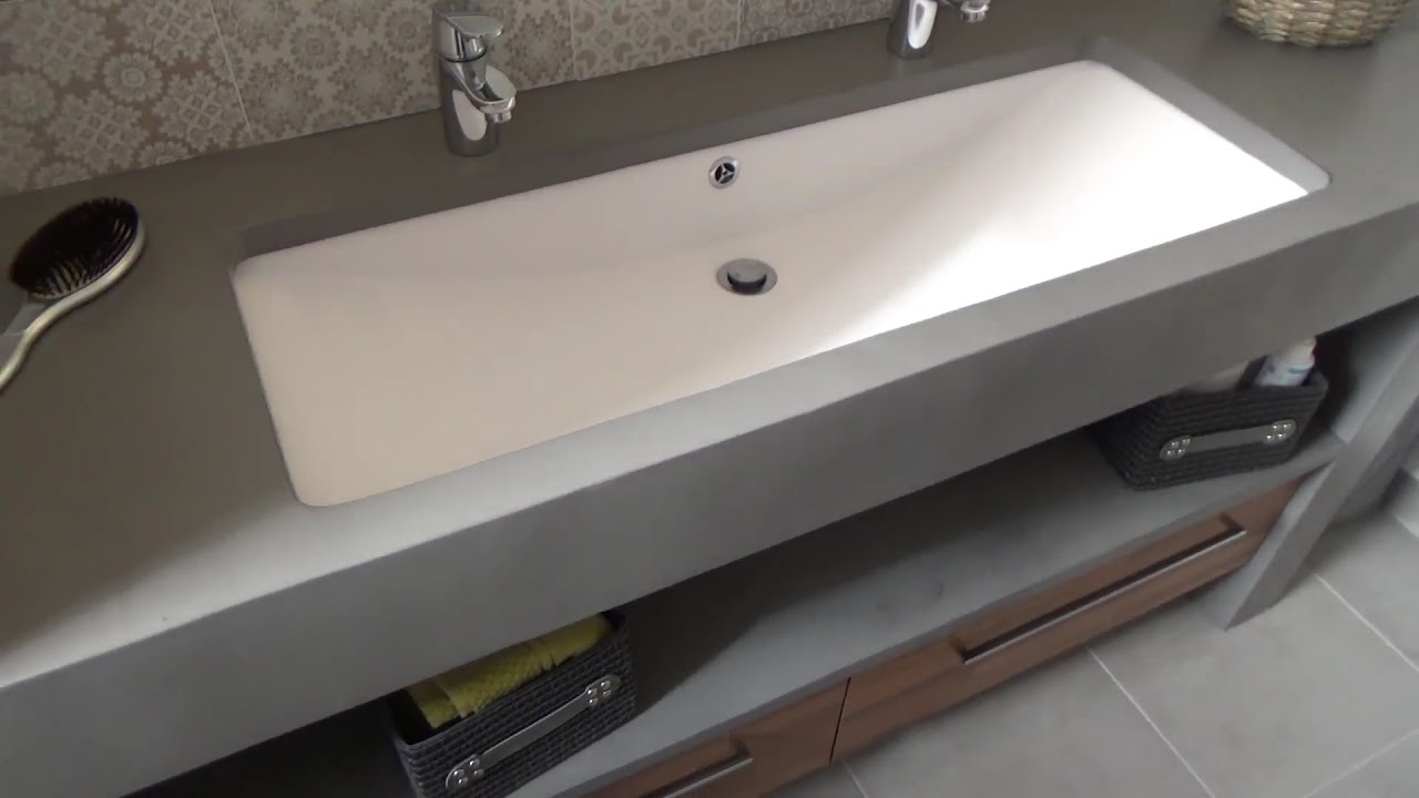 meuble salle de bain b ton cir sur mesure atlantic bain youtube. Black Bedroom Furniture Sets. Home Design Ideas