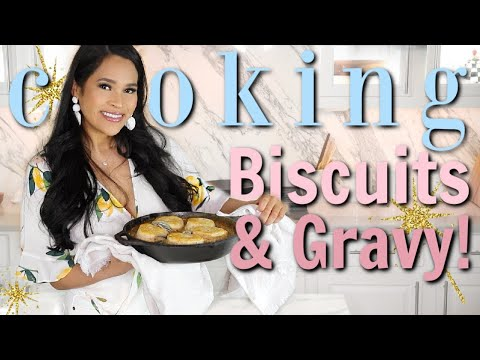 Making My Husband's Favorite Breakfast ! Skillet Biscuits & Gravy