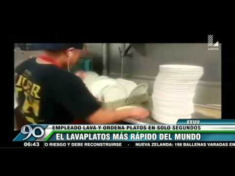 El hombre m s r pido del mundo lavando platos youtube for Platos rapidos
