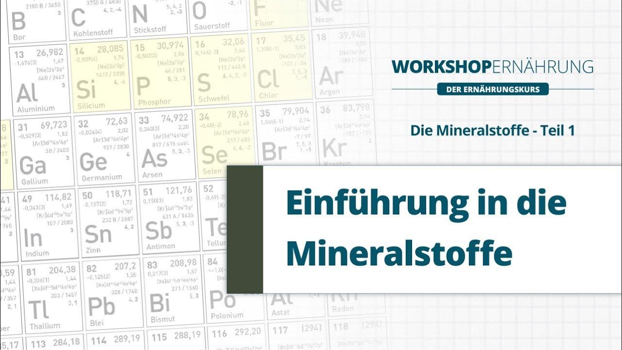 MINERALSTOFFE (1/3): Einführung in die Mineralstoffe | Workshop Ernährung